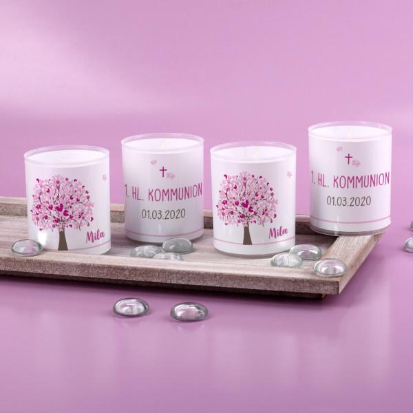 Vier kleine Teelichter mit Lebensbaum