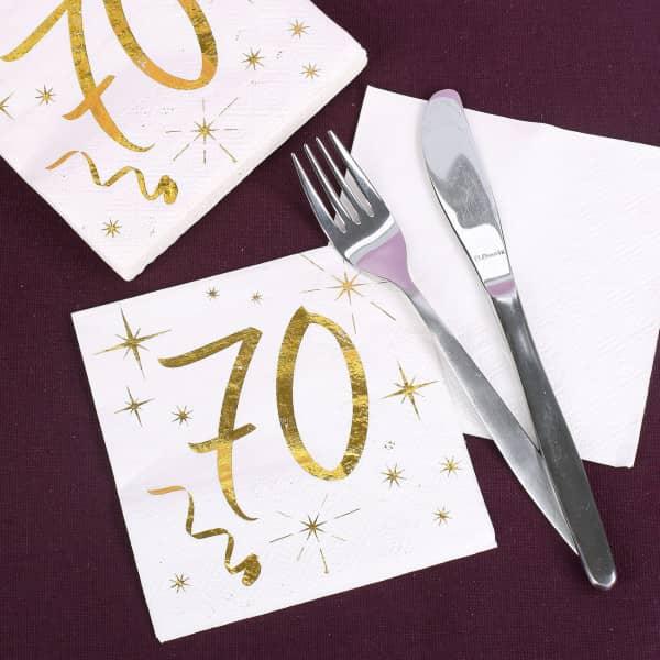 Partybedarfpartydeko - Weiße Servietten zum 70. Geburtstag in Gold Metallic - Onlineshop Geschenke online.de