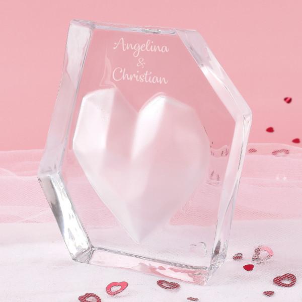 Glasskulptur mit Herz und Ihren Namen