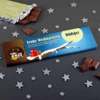 300g Weihnachtsschokolade mit Eulen und persönlichem Text