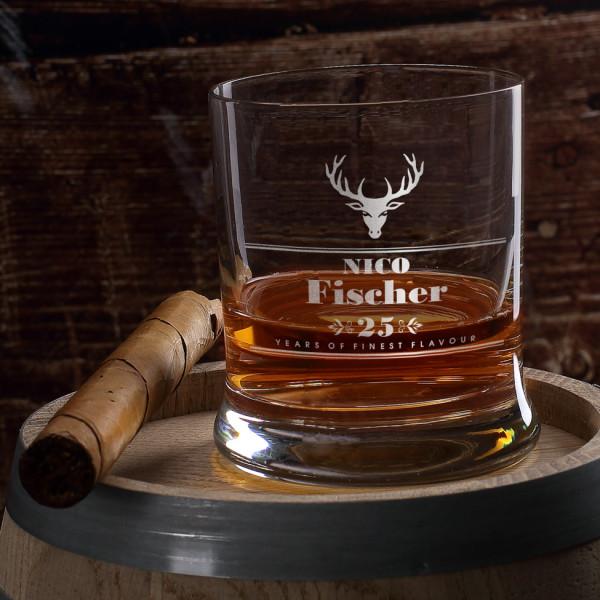 graviertes Whiskyglas Hirsch mit Wunschname und...