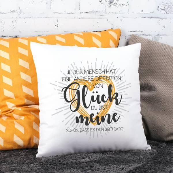 kissen du bist meine definition von gl ck mit wunschtext. Black Bedroom Furniture Sets. Home Design Ideas
