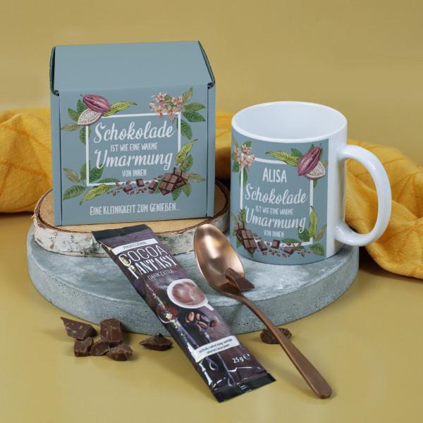 Geschenkset für Schoko Fans mit Tasse und Trinkschokolade in einer Box
