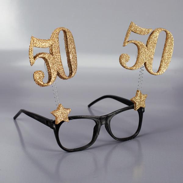 Brille mit goldenen 50er Zahlen