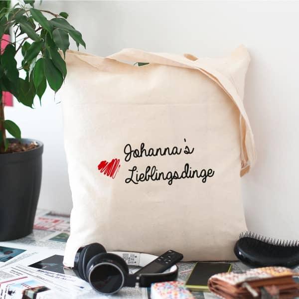 Tasche für all Ihre Lieblingsdinge mit Ihrem Namen bedruckt