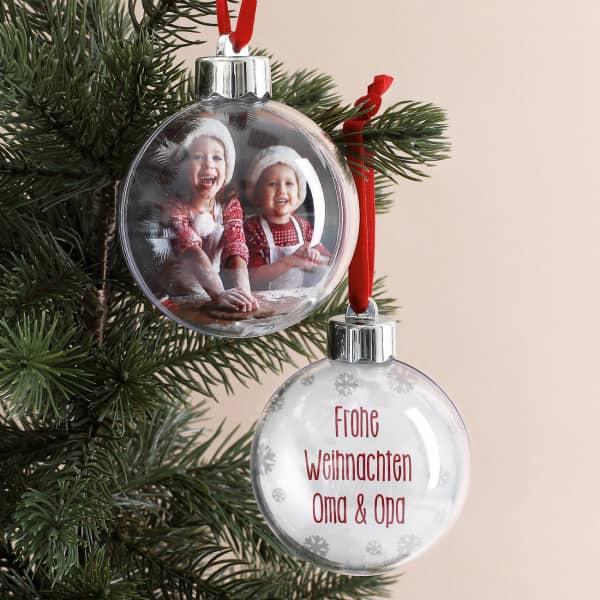 Weihnachtskugel mit Ihrem Foto und Wunschtext