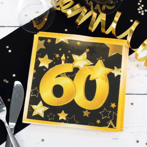 20 Servietten zum 60. Geburtstag - Statr