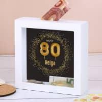 Bilderrahmen-Spardose für Geldgeschenke und Gutscheine zum 80. Geburtstag, 15x15cm