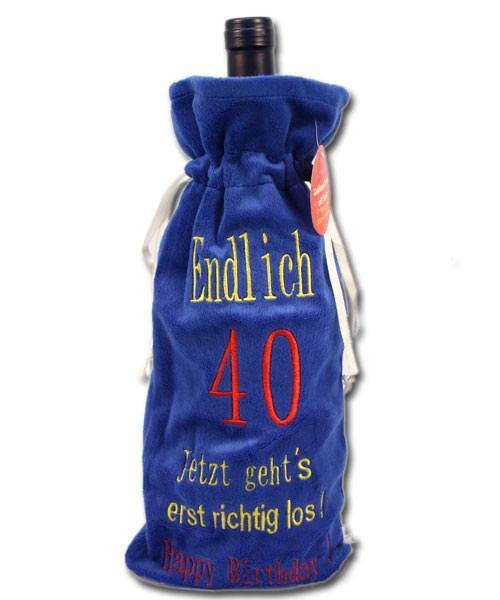 Flaschen-Beutel - Endlich 40...- aus Plüsch mit Sound
