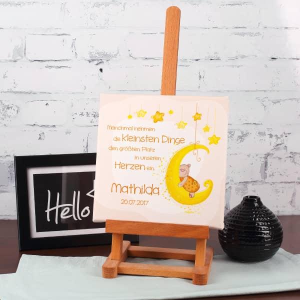 Leinwand zur Geburt mit niedlichem Teddymotiv in Orange, 20 x 20 cm
