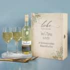 Liebe ist kein Wort, sondern ein Gefühl - Hochzeits Weingeschenkset mit Maybach Weißwein