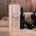 Träume gehen nie in Rente - Flaschenverpackung aus Holz mit Wunschtext