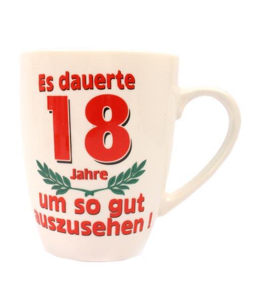 Tasse zum 18. Geburtstag mit Aufdruck