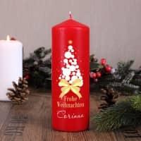 Rote Kerze - Frohe Weihnachten - mit Weihnachtsbaum und Name