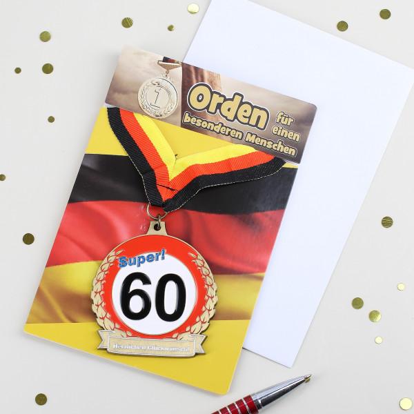 Glückwunschkarte mit Orden zum 60. Geburtstag