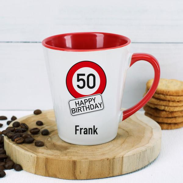 """Tasse zum Geburtstag """"Happy Birthday"""" mit Verkehrsschild, Alter und Name bedruckt"""