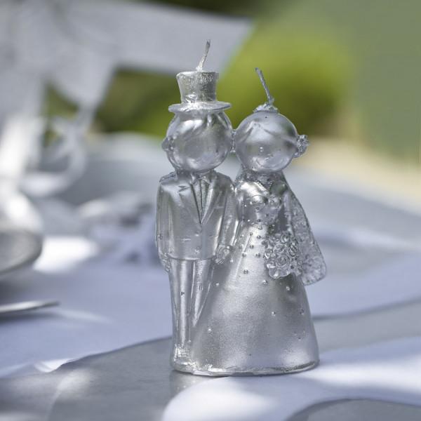 Kerze - Brautpaar zur Silbernen Hochzeit
