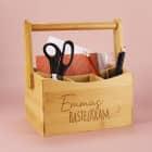Bastelkram - Bambuskiste für Buntstifte und Bastelutensilien mit Ihrem Wunschnamen