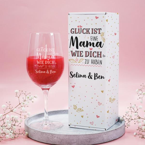 Glück ist, eine Mama wie Dich zu haben - Duftkerze im Weinglas mit passender Geschenkverpackung