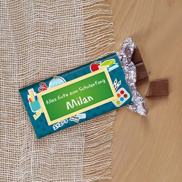 100g Tafel Schokolade zum Schulanfang für Jungen