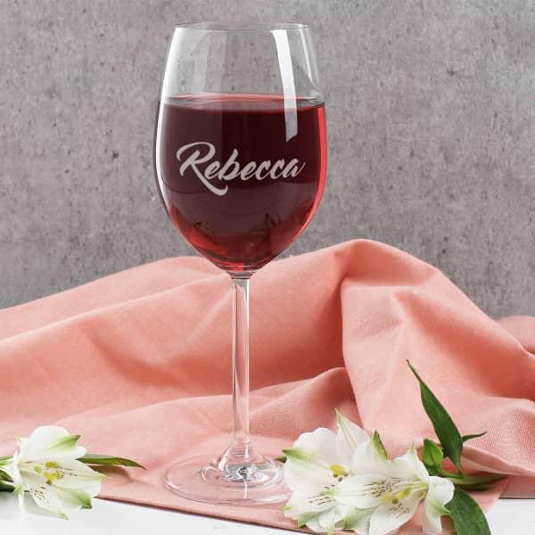 Rotweinglas graviert mit Ihrem Wunschnamen