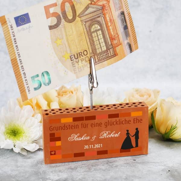 Ziegelstein als Geldclip zur Hochzeit