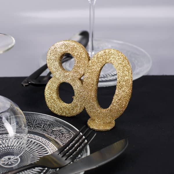 Goldene Dekozahl 80 - zum Geburtstag