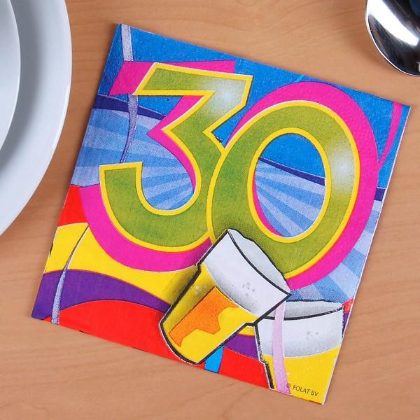 Bunte Servietten zum 30. Geburtstag