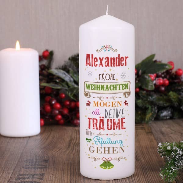 Kerze mit guten Wünschen zu Weihnachten
