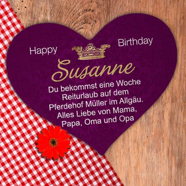 Großes Herz Puzzle Happy Birthday