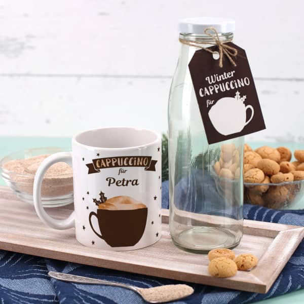 Geschenkset Winter Cappuccino mit Tasse und Glasflasche