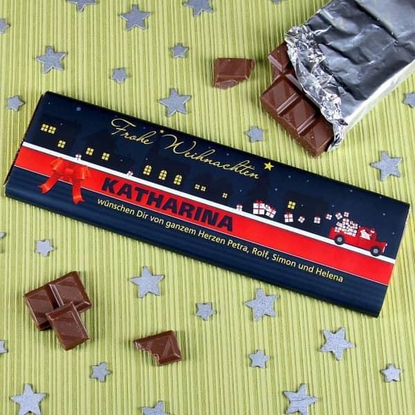 Weihnachtsschokolade mit Namen und Text