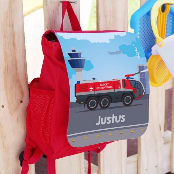 Kinderrucksack mit Flughafen Feuerwehr und Name