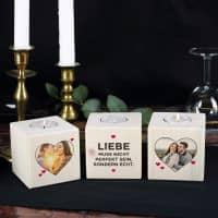 Drei Holzteelichter mit Fotoaufdruck - Liebe muss echt sein