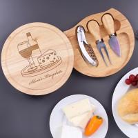 Käsebrett mit Besteck und Gravur