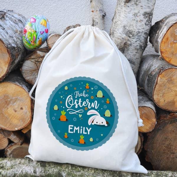 Großer Geschenksack zu Ostern mit Ihrem Namen bedruckt, 40 x 50 cm