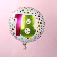 Folienballon zum 18. Geburtstag in weiß mit Punkten