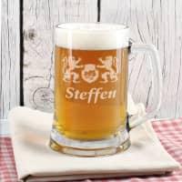 Gravierter Bierkrug aus Glas mit Name