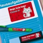 Sticker-Set für Kinder mit kleiner Katze und Wunschtext