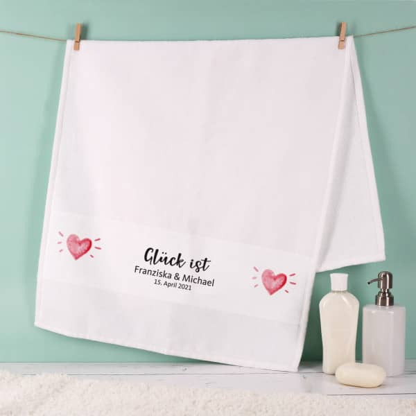 Glück ist... Handtuch mit 2 Zeilen Wunschtext, 50x100cm