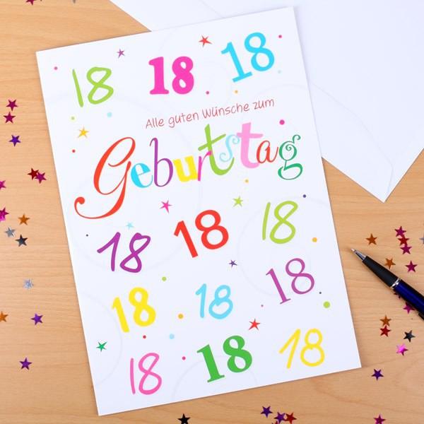 Glückwunschkarte zum 18. Geburtstag in XL Bunte Zahlen