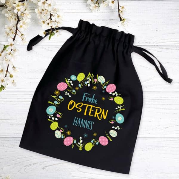 Frohe Ostern Geschenksack mit Name, 32 x 24 cm