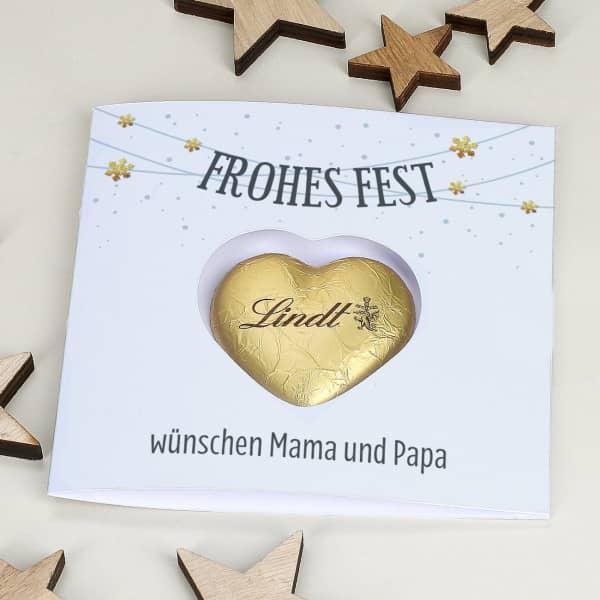 Klappkarte Frohes Fest mit Lindt Herz