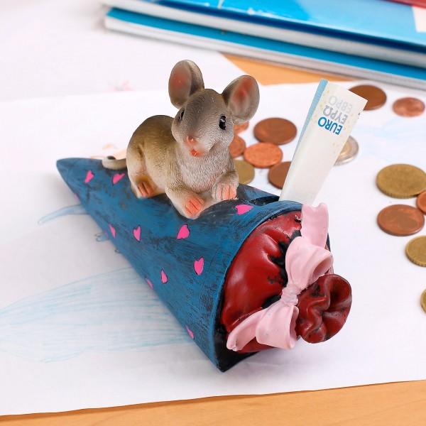 Spardose Maus auf Schultüte *blau*
