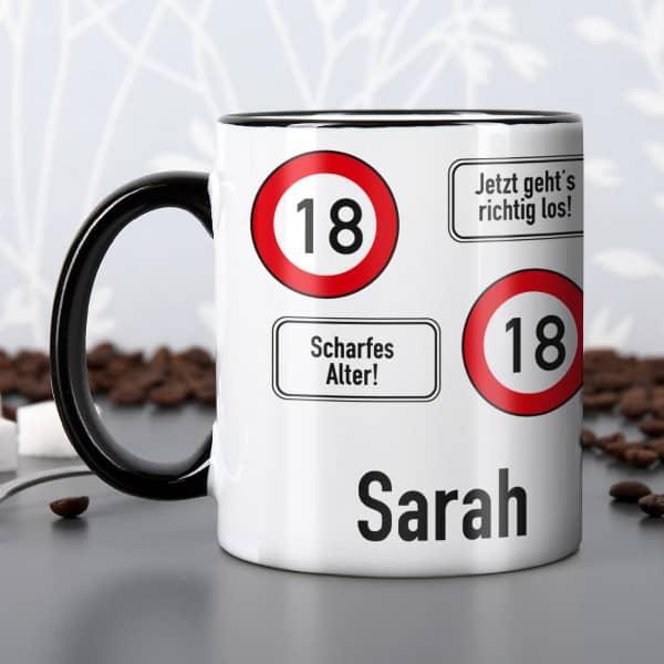 Tasse zum 18. Geburtstag mit Namen