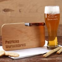 Bierglas und Holzbrettchen Wurschtbrett mit Namensgravur