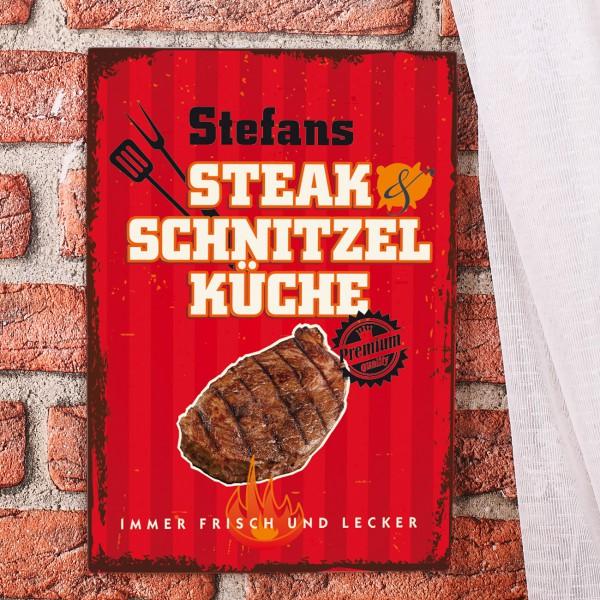 Nostalie Blechschild Steak Grill Küche Männer Name