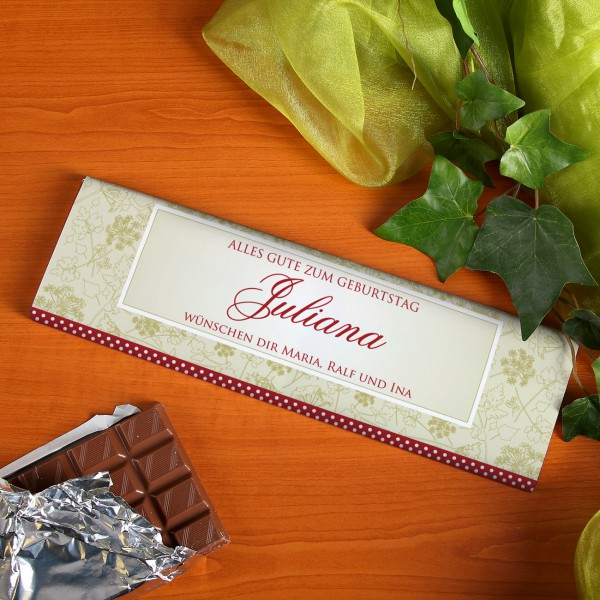 XL-Geburtstagsschokolade mit Name in stilvoller Verpackung