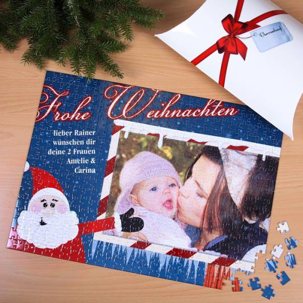XXL Weihnachtspuzzle mit Foto auf winterlicher Plakattafel