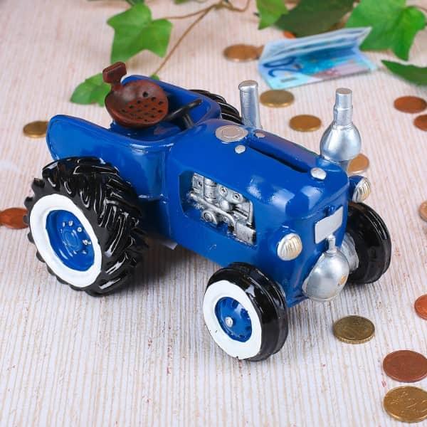 blauer Traktor Oldtimer als Spardose